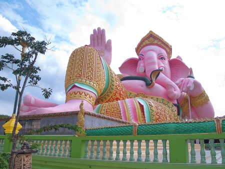 Ganesha statue with beautiful sky in Thailand photo