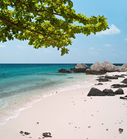 Summer paradise view with beautiful beach and emerald color sea Stock Photo