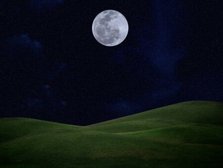 Full moon with stars and field of green hill on darkness sky Stock Photo