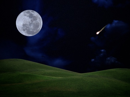 Full moon with falling star and green hill on darkness sky