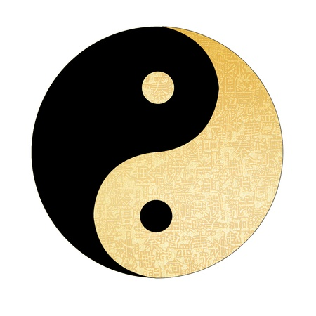 yin: Yin-Yang symbol with chinese letter, The sign of the two elements.