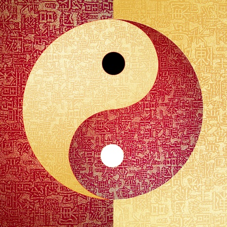Yin-Yang symbol with chinese letter, The sign of the two elements. Stock Photo - 10874840