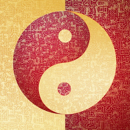 Yin-Yang symbol with chinese letter, The sign of the two elements. Stock Photo - 10874841