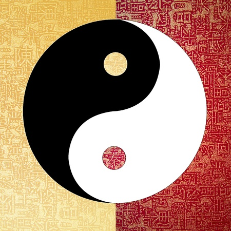 Yin-Yang symbol with chinese letter, The sign of the two elements.