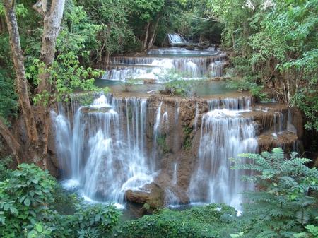 beck: Fourth level of Huay Mae Kamin Waterfall, Khuean Srinagarindra National Park, Kanchanaburi, Thailand Stock Photo