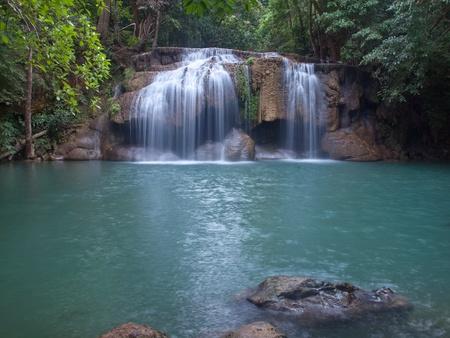 tier: Emerald color water in tier second of Erawan waterfall, Erawan National Park, Kanchanaburi, Thailand