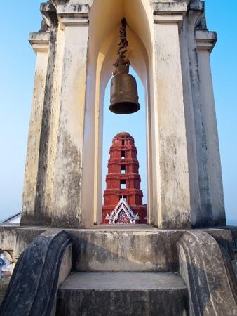 king palace: Chedi Dang pagoda from belfry in Khao Wang Phra Nakhon Khiri Historical Park, Holy City Hill , Old King Palace, Petchaburi, Thailand