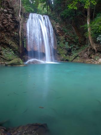 tier: Emerald color water in tier fourth of Erawan waterfall, Erawan National Park, Kanchanaburi, Thailand