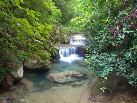 Emerald color water in Erawan waterfall, Erawan National Park, Kanchanaburi, Thailand photo