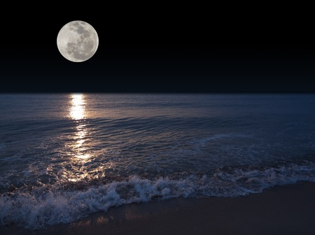 Romantic tropical beach with beautiful full moon