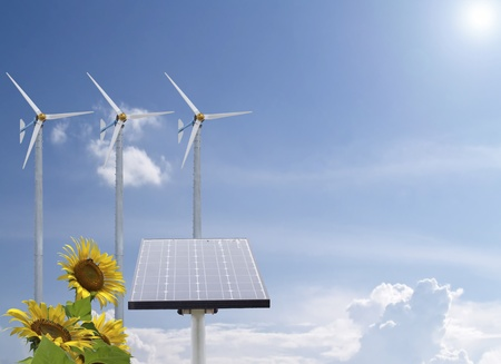 Alternative energy with sunflowers and pure fresh air photo