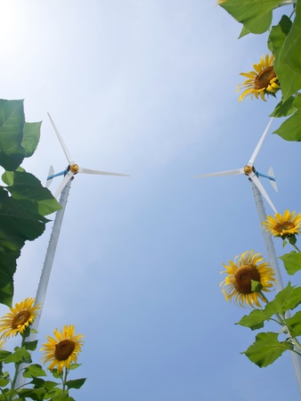 Windmill with sunflowers and pure fresh air photo