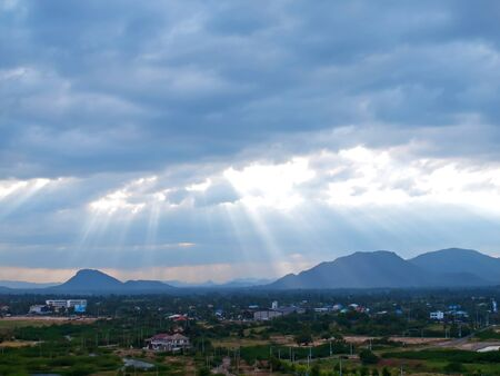 bad weather: Mountains landscape with bad weather and the cloudy sky birds eye view Stock Photo