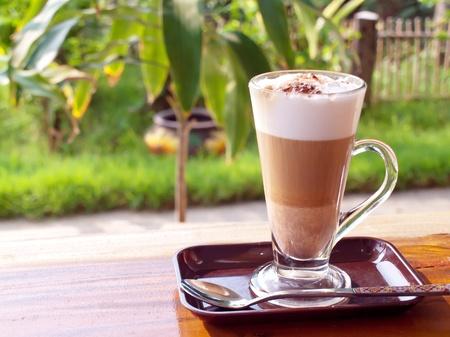 Coffee break with coffee latte in garden Stock Photo - 12976787