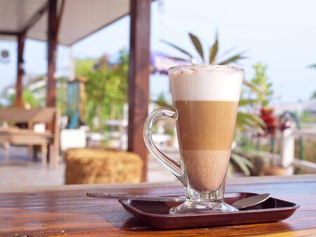 sweet shop: Coffee break with coffee latte in coffee shop