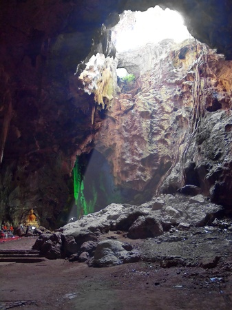 Explore at innermost of Khao Luang Cave, Phetchaburi, Thailand