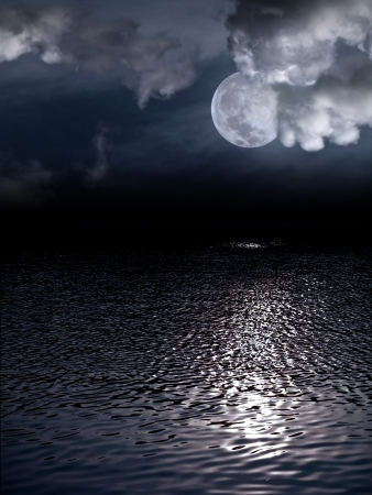 Beautiful full moon behind fantasy cloudy sky over water with reflection