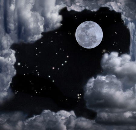 Beautiful sky with full moon, stars, some constellation and fantasy cloudy