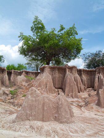 arise: Strange land arise from ground subsidence Stock Photo