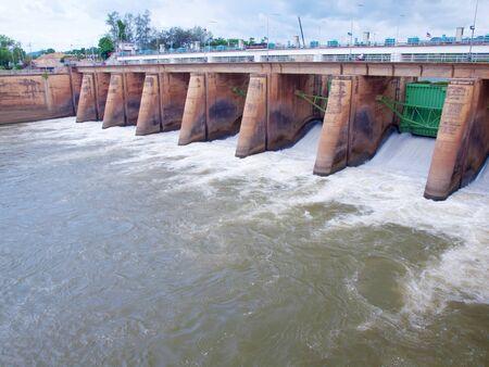 klong: Mae Klong Dam stops the flow of Mae Klong River, Tha Moung, Kanchanburi, Thailand Stock Photo