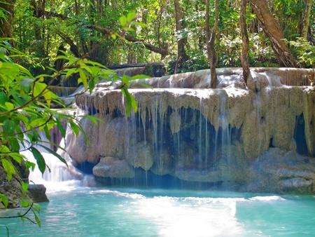tier: Emerald color water in tier fifth of Erawan waterfall, Erawan National Park, Kanchanaburi, Thailand