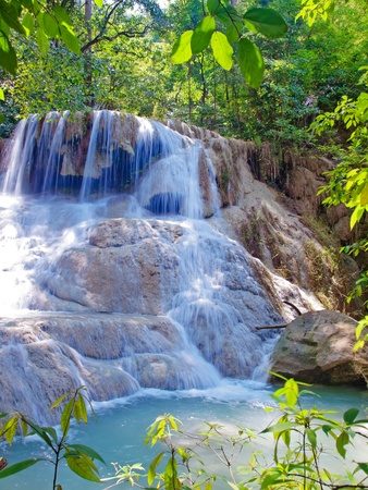 Emerald color water in tier sixth of Erawan waterfall, Erawan National Park, Kanchanaburi, Thailand Stock Photo - 16255482