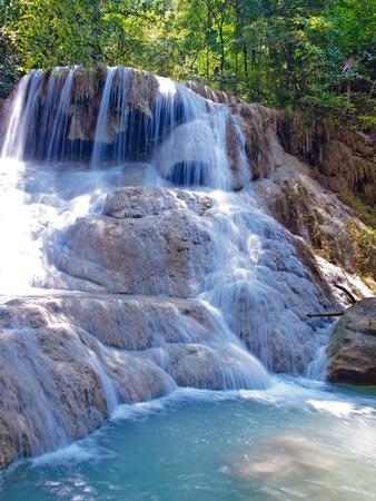 tier: Emerald color water in tier sixth of Erawan waterfall, Erawan National Park, Kanchanaburi, Thailand Stock Photo