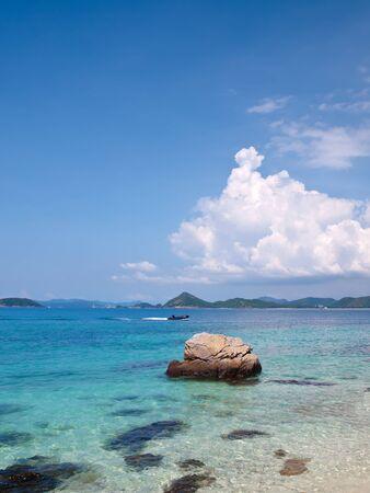 Emerald color sea with rubber boat in Ko Kham island, Sattahip, Chon Buri, Thailand Stock Photo - 17175031