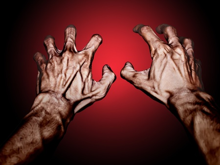 sear: Sear hands may use for horrible theme Stock Photo