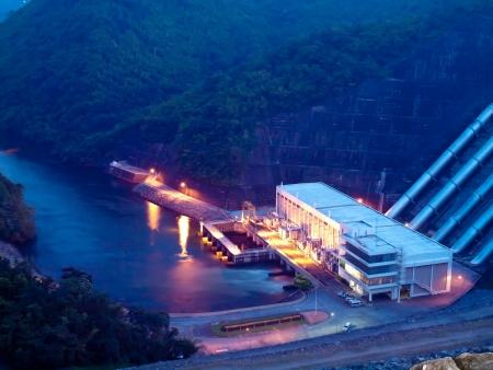 electricity generator: Electricity Generator front of Sri Nakharin Dam at night, Kanchanaburi, Thailand