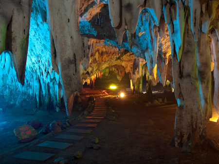 ratchaburi: Stalactite wall illuminated with color light in Tham Khao Bin cave, Ratchaburi, Thailand