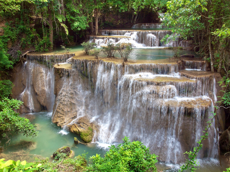 Fourth floor of Huay Mae Kamin Waterfall, Khuean Srinagarindra National Park, Kanchanaburi, Thailand photo