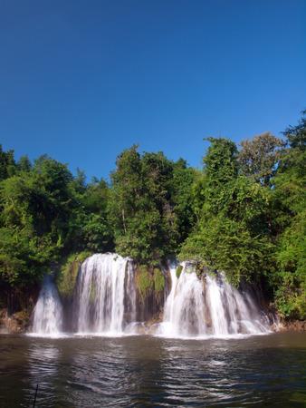 Sai Yok Lek waterfall flow into Khwae Noi river, Sai Yok National Park, Kanchanaburi, Thailand photo
