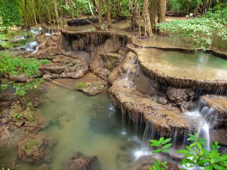 the sixth: Sixth floor of Huay Mae Kamin Waterfall, Khuean Srinagarindra National Park, Kanchanaburi, Thailand