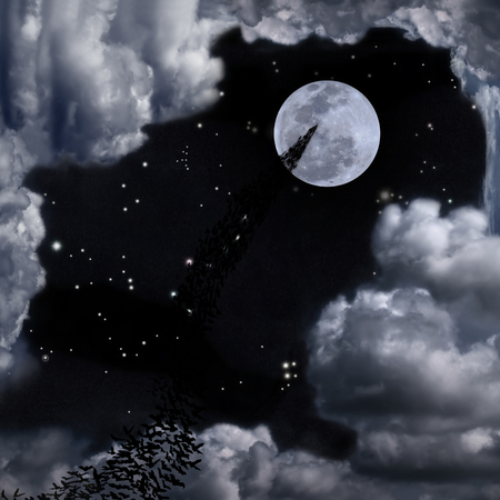 horrible: Bats flying again full moon, stars, some constellation and fantasy cloudy may use for horrible theme or halloween theme Stock Photo