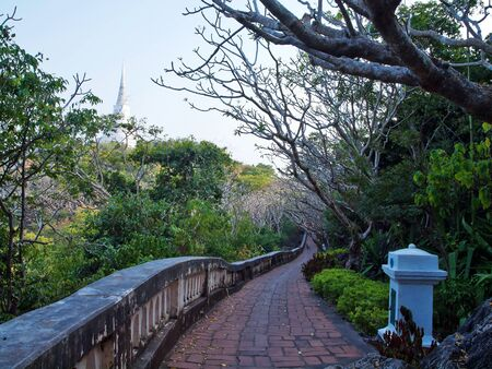 hill of the king: Pathway to Phra That Jom Phet in Khao WangPhra Nakhon Khiri Historical Park, Holy City Hill, Old King Palace, Petchaburi, Thailand