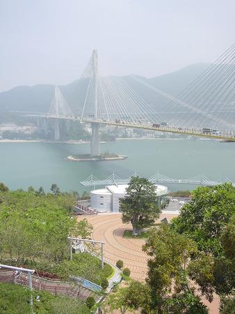 ting: Ting Kau suspension bridge, Lantau link viewing platform, Tsing Yi island, Hong Kong
