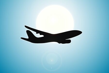 Silhouette of plane over sun Stock Vector - 20982551