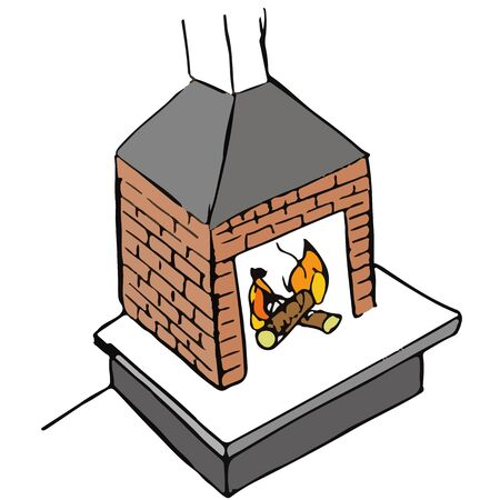 Cartoon illustration of fireplace Illustration