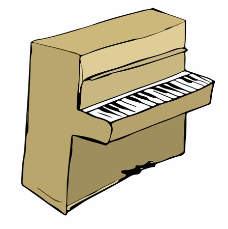 etude: Cartoon illustration of piano