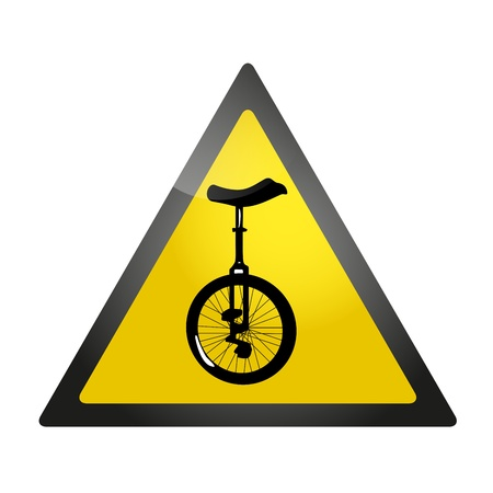Yellow roadsign warning about a presence of unicycles