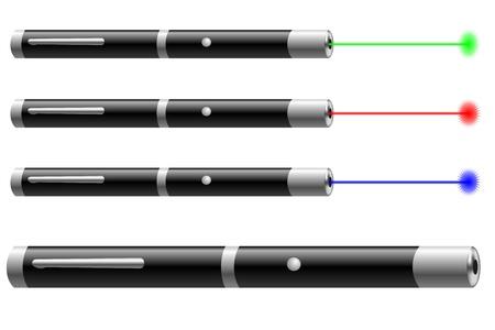 amplification: Vector illustration de pointeurs laser de diff�rentes couleurs Illustration
