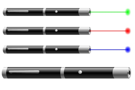 Vector illustration of laser pointers with different colors