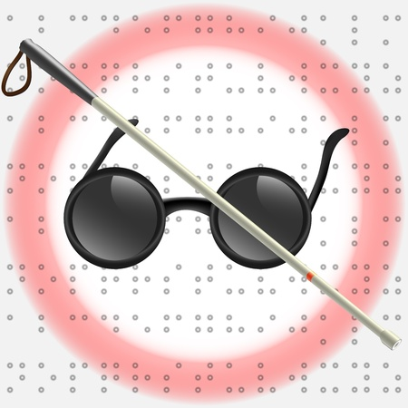 visually: Art Illustration of white stick and glasses for visually impaired Stock Photo