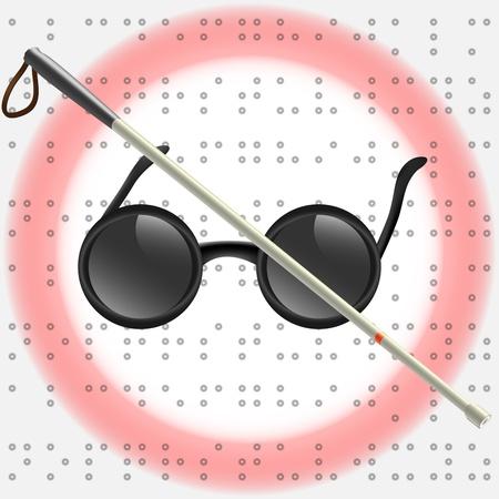 braille: Ejemplo del arte de palo blanco y gafas para deficientes visuales