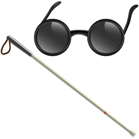 Illustration of white stick and glasses for visually impaired