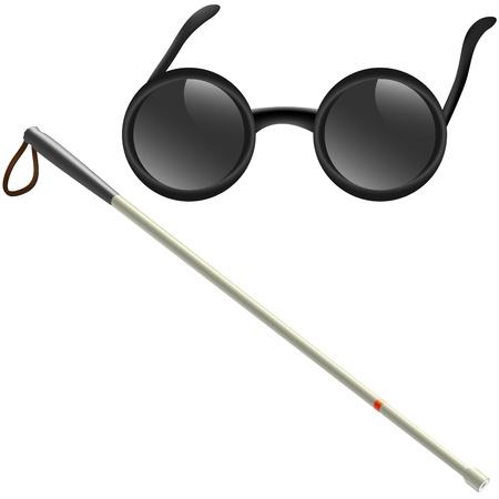 braille: Ilustración de palo blanco y gafas para deficientes visuales Vectores