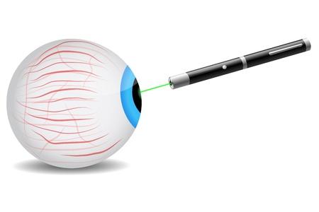 laser radiation: Green laser pointer focused on eye Illustration