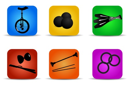 Set of flat icons for different kinds of juggling Stock Vector - 22013529