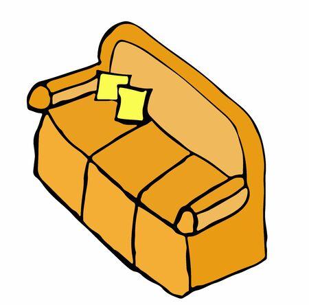 easy chair: Cartoon illustration of an orange sofa Illustration